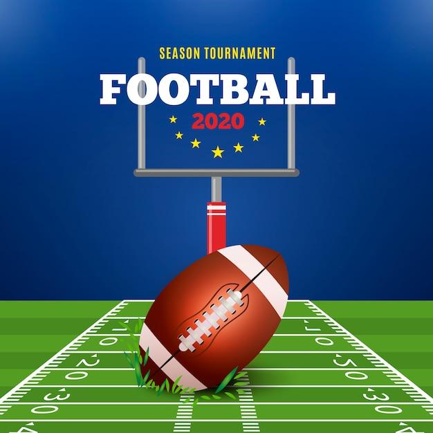Amerikanischer fußball der realistischen art mit grünem feld Kostenlosen Vektoren
