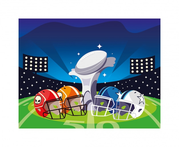 Amerikanischer fußballpreis mit sturzhelmen im stadion Premium Vektoren