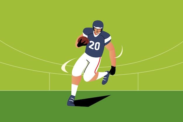 Amerikanischer fußballspieler der flachen entwurfsillustration Kostenlosen Vektoren
