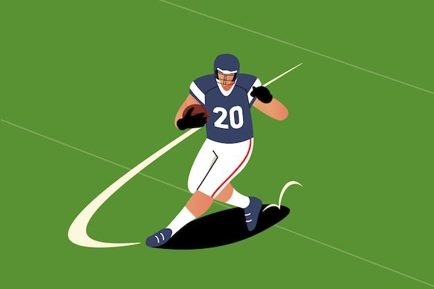 Amerikanischer fußballspieler mit flachem design Premium Vektoren