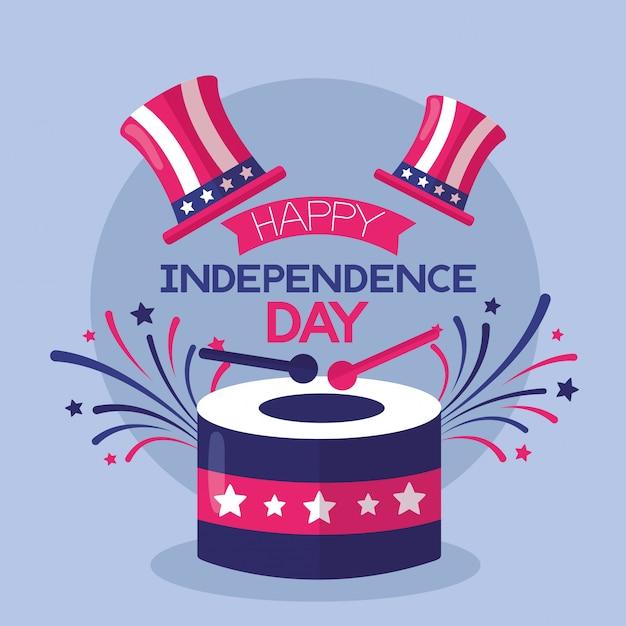 Amerikanischer glücklicher unabhängigkeitstag Kostenlosen Vektoren