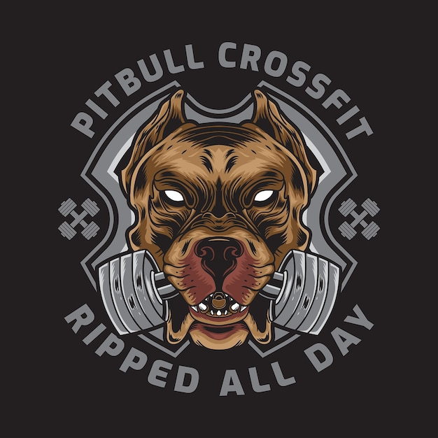Amerikanischer pitbull mit crossfit barbell badge logo Premium Vektoren