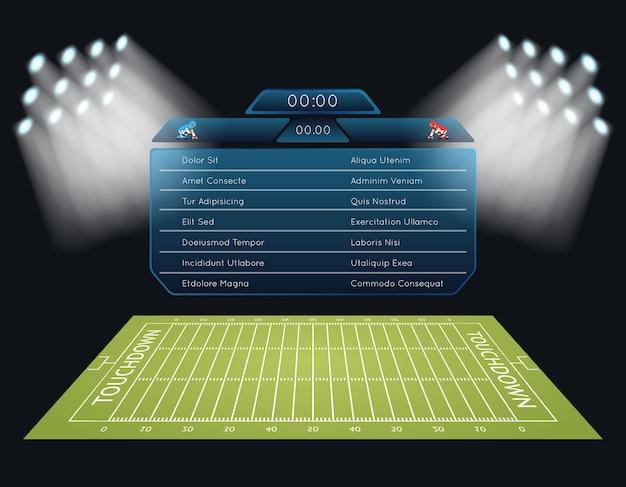 Amerikanisches fußballfeld des realistischen vektors mit anzeigetafel. touchdown, rugby, spiel und stadion, meisterschaftswettbewerb Premium Vektoren