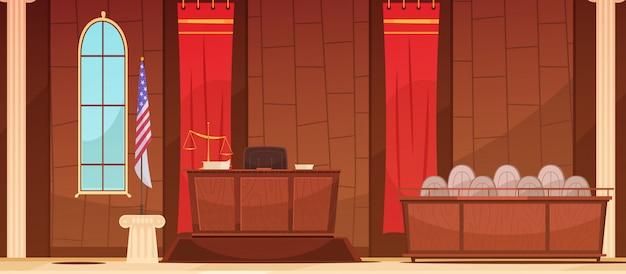 Amerikanisches gericht gerichtliches gerichtsverfahren im gerichtsgebäude mit retro- plakat der flagge und der jurybox Kostenlosen Vektoren