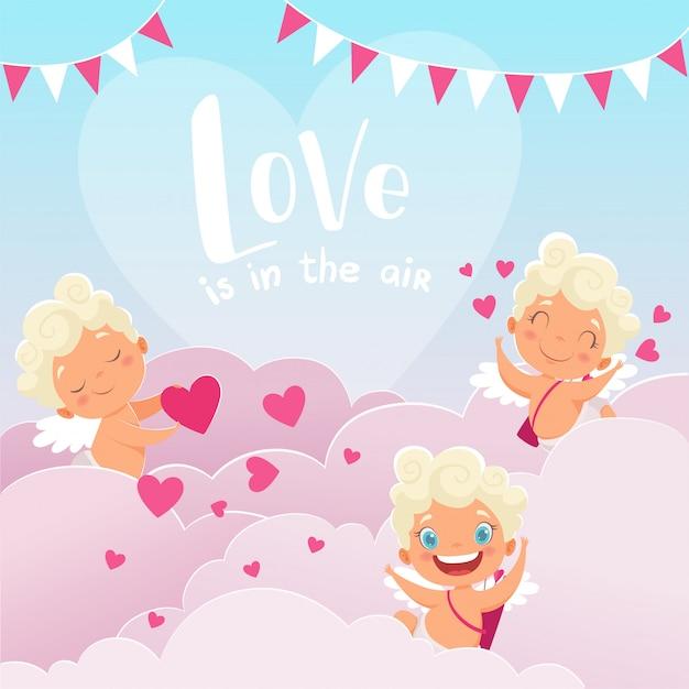 Amor bewölkt hintergrund, romantischen griechenland-gott des valentinstagbabys amur mit den bogenfliegenwolken, die liebhaberpaare jagen Premium Vektoren