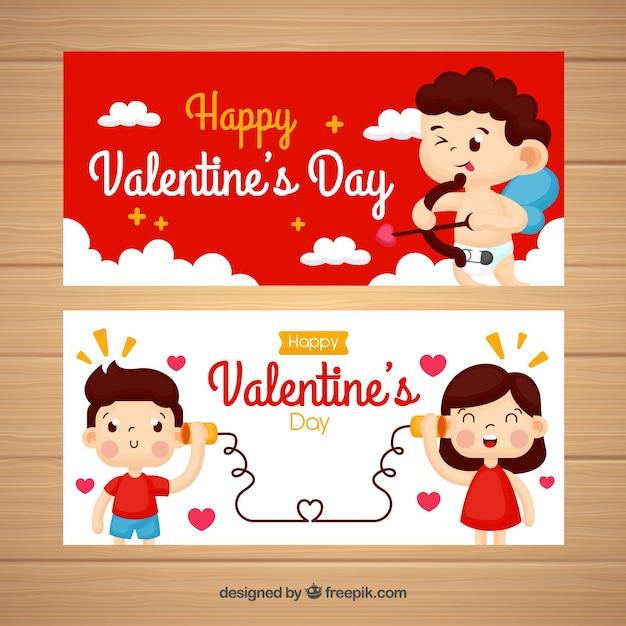 Amor und paar valentinstag banner Kostenlosen Vektoren