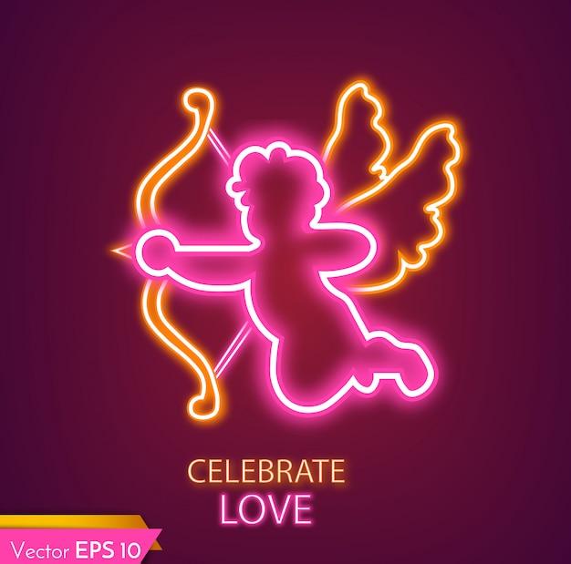 Amorenkarte neonlicht Premium Vektoren