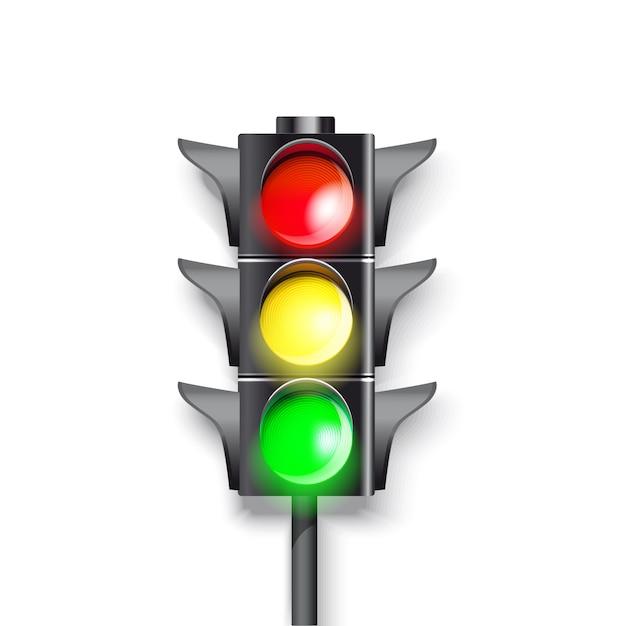 Ampel auf weißem hintergrund. brennende grüne, rote und grüne farbe. Premium Vektoren