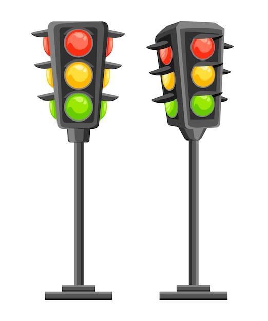 Ampel. vertikale verkehrssignale mit roten, gelben und grünen lichtern. . illustration Premium Vektoren