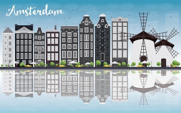 Amsterdam-stadtskyline mit grauen gebäuden und reflexion Premium Vektoren