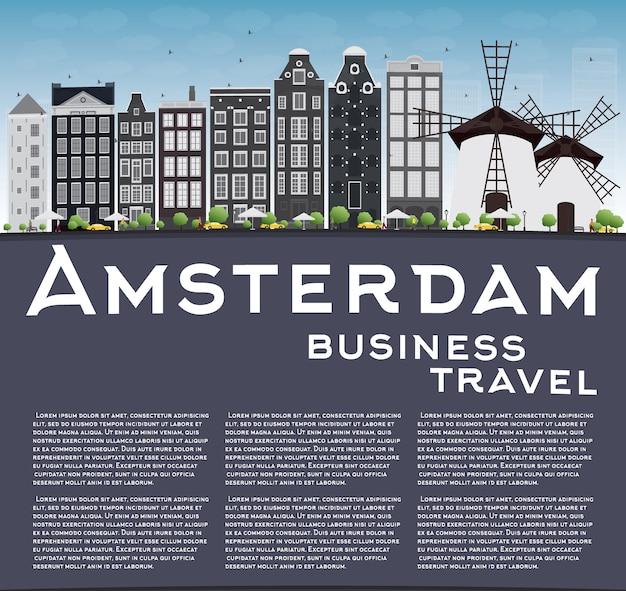 Amsterdam-stadtskyline mit grauen gebäuden Premium Vektoren