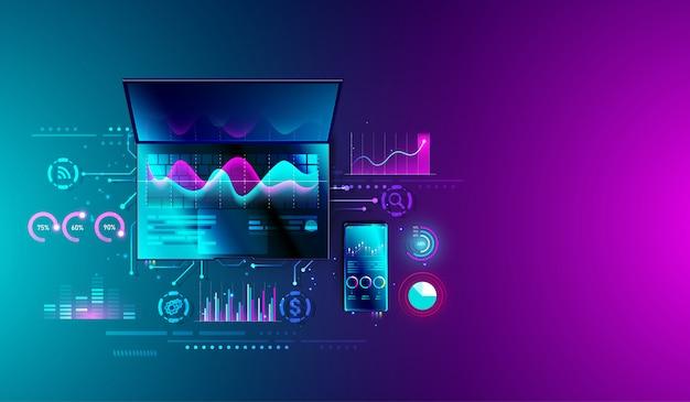 Analyse der finanzstatistik auf dem laptop Premium Vektoren