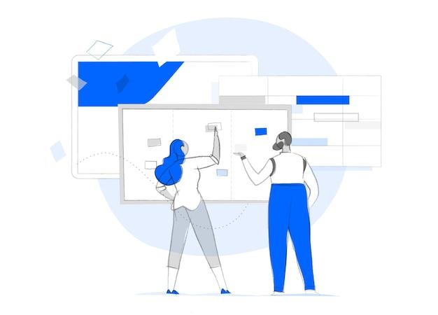 Analyse der kundenerfahrung. ein paar analysiert daten und plant die strategie Premium Vektoren
