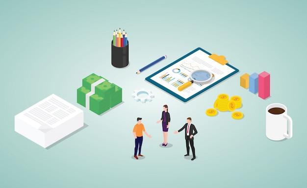 Analyse des finanzberichts mit den mitarbeitern und dem dokument Premium Vektoren