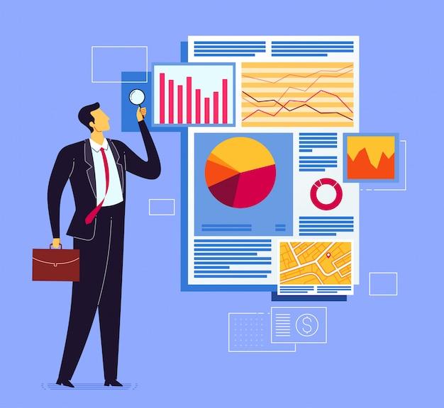 Analyse des geschäftsberichts Premium Vektoren