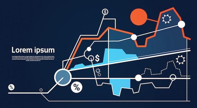 Analyse-finanzdiagramm finanzgeschäftsdiagramm Premium Vektoren