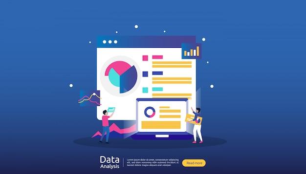 Analyseillustration der digitalen daten für marktforschung und digitale marketingstrategie Premium Vektoren