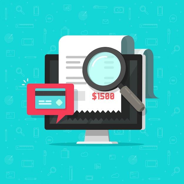 Analysierende oder lohnrechnungsforschung der on-line-zahlungsprüfung auf flacher karikatur des computers Premium Vektoren