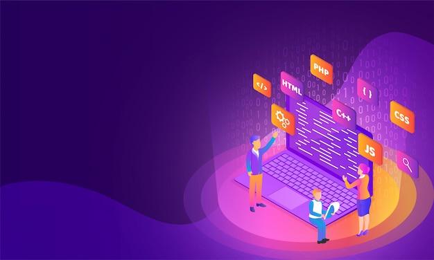 Analyst- oder entwickler-desktop. Premium Vektoren