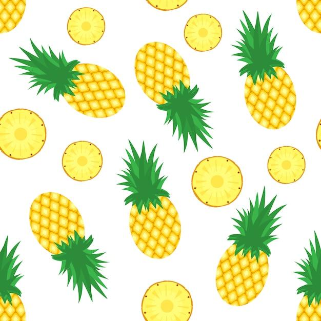 Ananas hintergrund. frische ananas und ananasscheiben Premium Vektoren