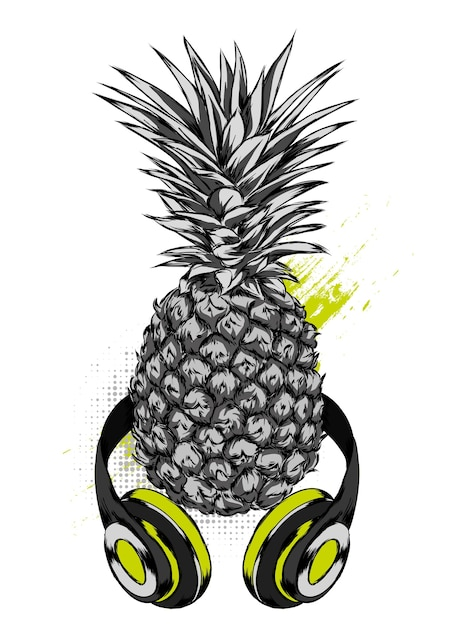 Ananas in kopfhörern. exotische frucht. Premium Vektoren