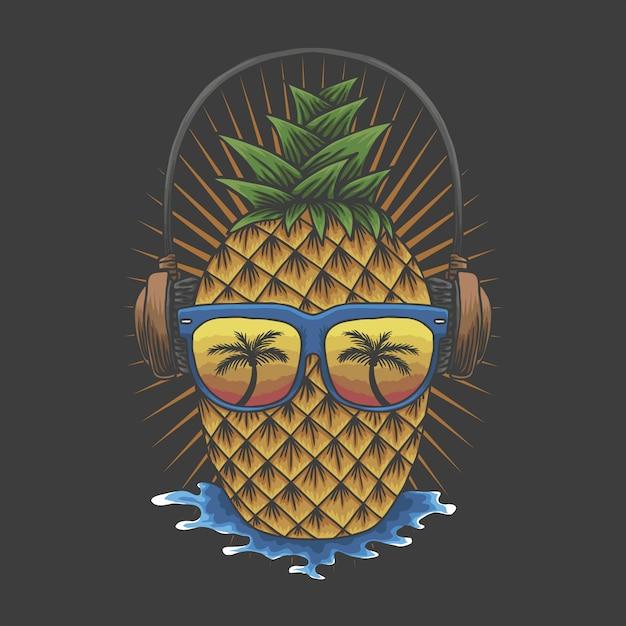 Ananas-kopfhörer Premium Vektoren