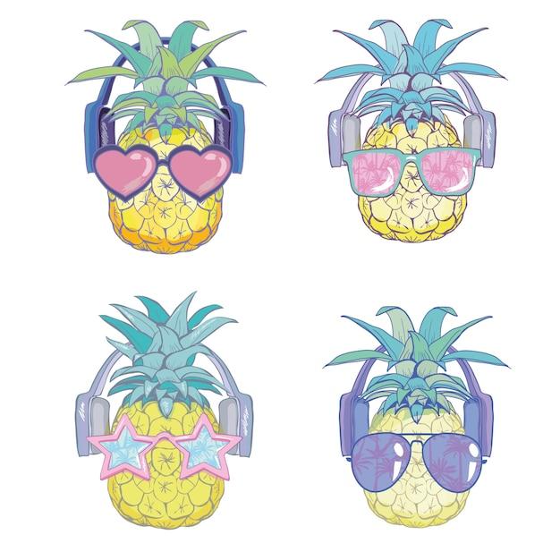 Ananas mit sunglases und kopfhörern Premium Vektoren