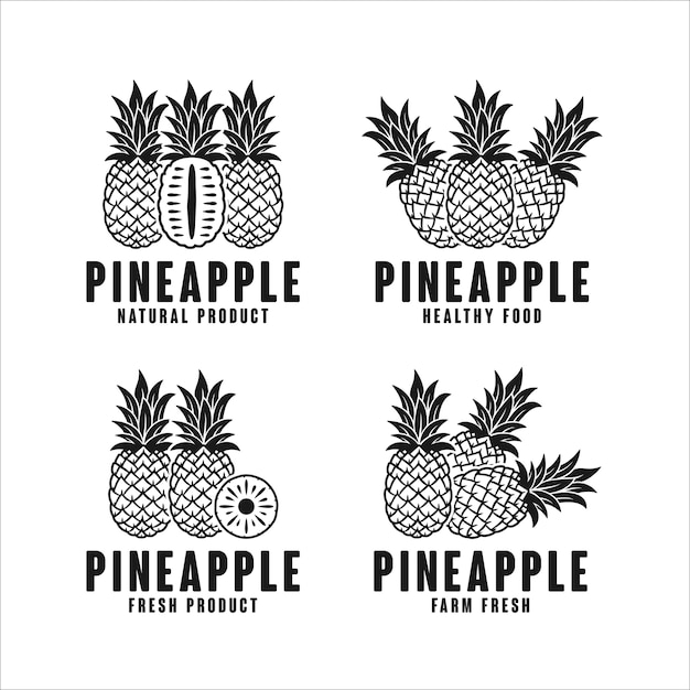 Ananas natürliches produktlogo sammlung Premium Vektoren