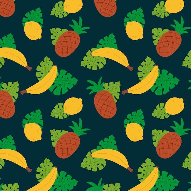 Ananas und bananenfruchtmusterschablone Kostenlosen Vektoren