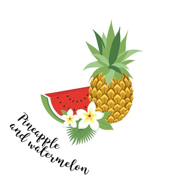 Ananas und wassermelone - vektor, abbildung. obst-set. icons tropische früchte mit blättern und blumen. set trendige illustrationen des vektors getrennt auf weiß. Premium Vektoren
