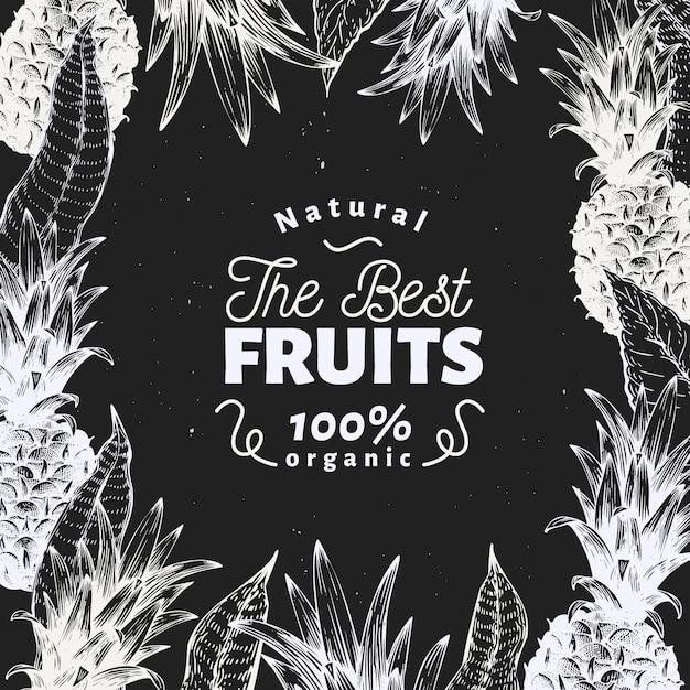 Ananasfrucht design. hand gezeichnete vektorfruchtillustration auf kreidebrett. retro tropischen stil graviert. Premium Vektoren