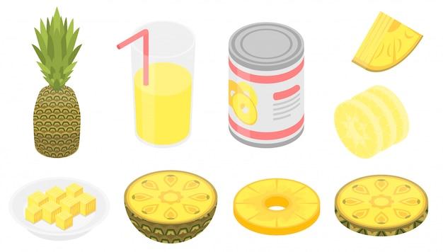 Ananasikonen eingestellt, isometrische art Premium Vektoren