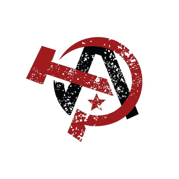 Anarchie-atheismus-sozialistisches logo Premium Vektoren