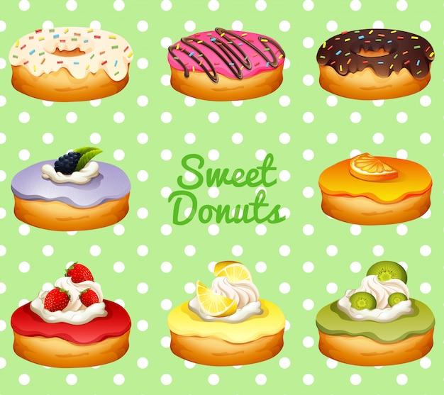 Anderes aroma von donuts Kostenlosen Vektoren
