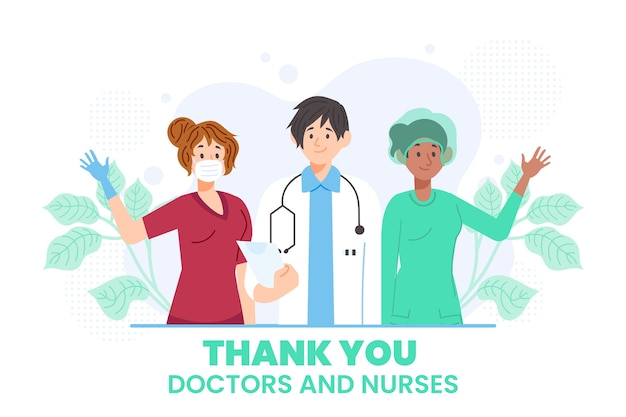 Anerkennungsillustration von ärzten und krankenschwestern Kostenlosen Vektoren
