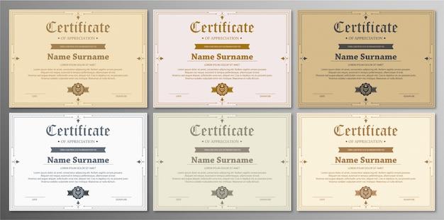 Anerkennungsurkunde vorlage mit vintage gold grenze Premium Vektoren