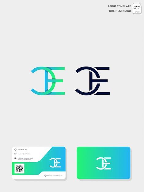 Anfängliche kreativlogo-vorlage für ce oder ec und visitenkarte Premium Vektoren
