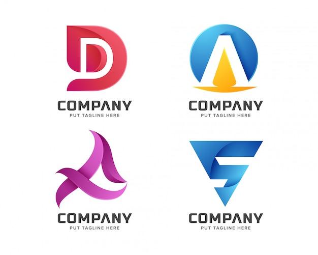 Anfängliche logosammlung des bunten buchstaben Premium Vektoren