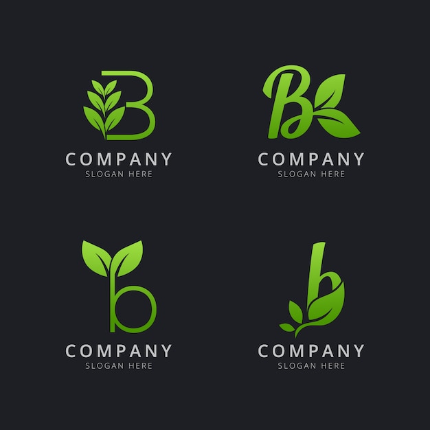 Anfängliches b-logo mit blattelementen in grüner farbe Premium Vektoren