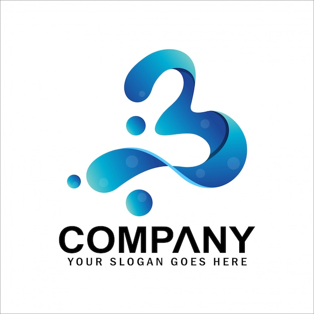 Anfangsbuchstabe b-logo mit blase, nummer 3-logo, nummer 3 oder buchstabe b-symbol Premium Vektoren