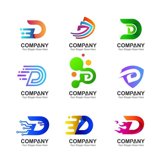 Anfangsbuchstabe d-logoansammlung Premium Vektoren