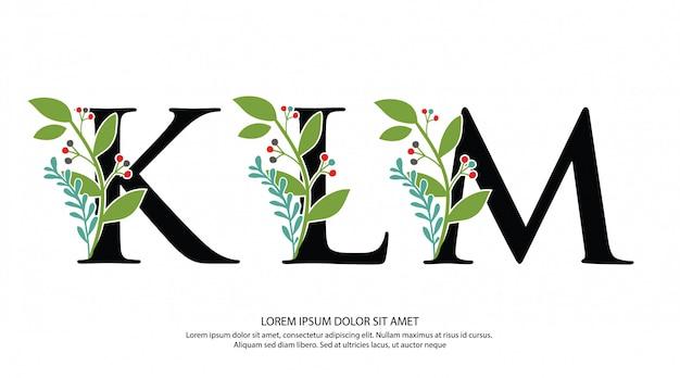 Anfangsbuchstabe klm letter mit blumenform Premium Vektoren