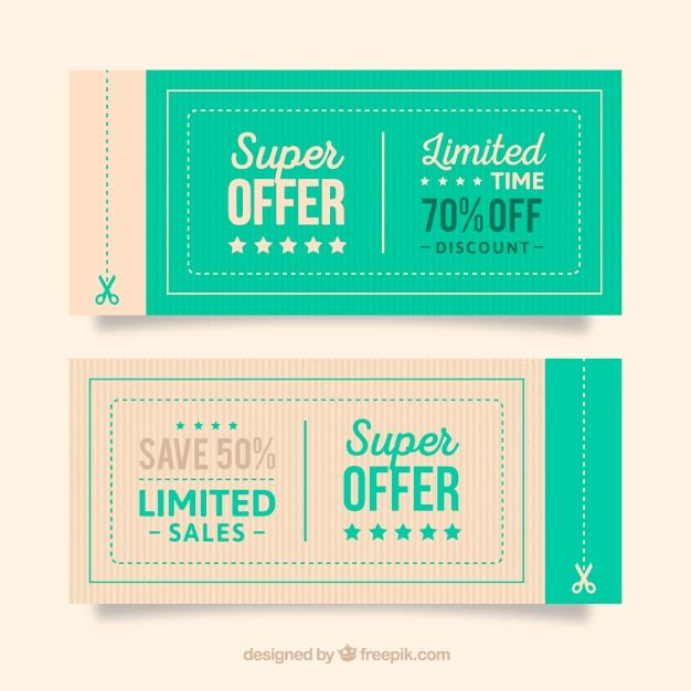 Angebot coupons Kostenlosen Vektoren