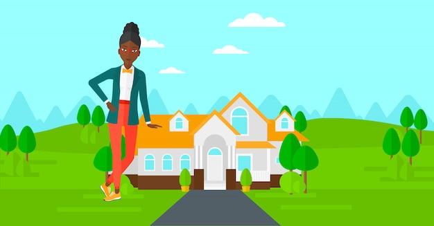 Angebothaus des immobilienmaklers. Premium Vektoren