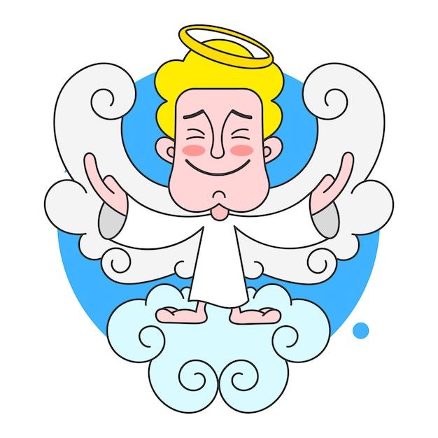 Angel on cloud mit halo auf hauptvektor Premium Vektoren