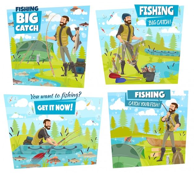 Angelabenteuer, fischer fangen see- oder flussfische Premium Vektoren