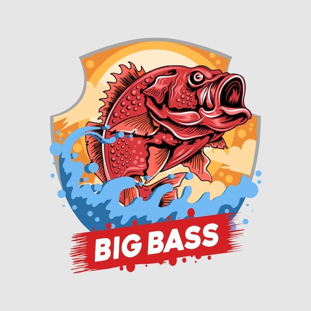 Angelfisch red snapper fisherman big bass artwork Premium Vektoren