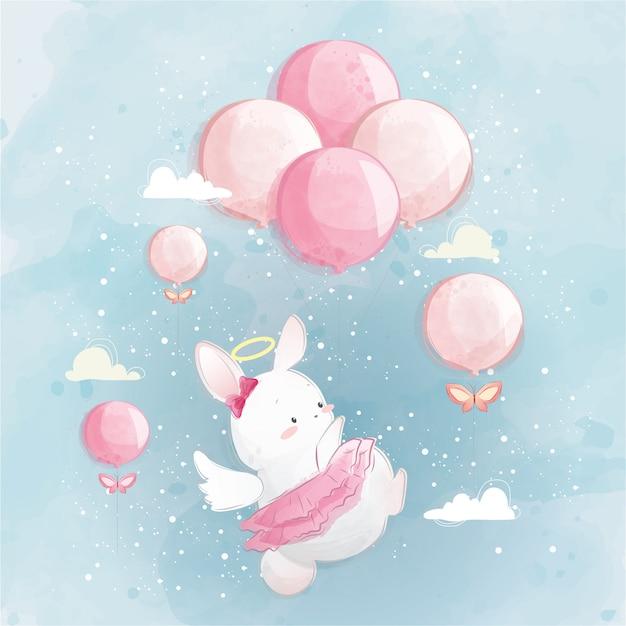 Angelic bunny flying in den himmel Premium Vektoren