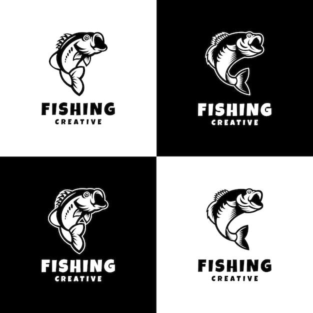 Angeln logo sport modern kreativ Premium Vektoren