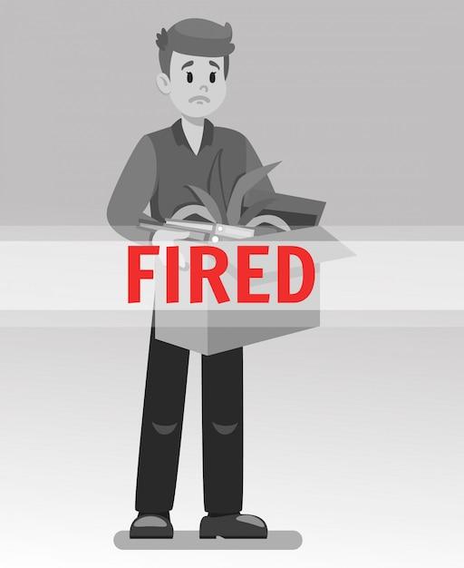 Angestellter erhielt gefeuerte karikatur-vektor-illustration Premium Vektoren